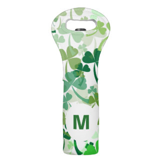 Green Clover All Over Wine Bag