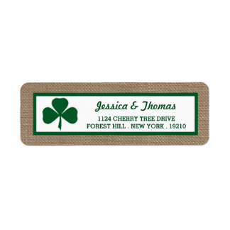 Green Clover & Burlap St. Patrick's Day Return Address Label