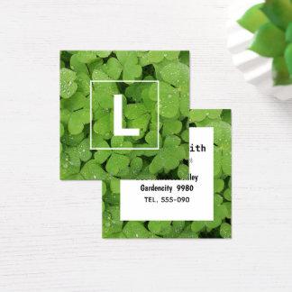 Green clover initial business card