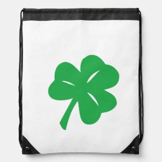 Green Clover Leaf Drawstring Backpack