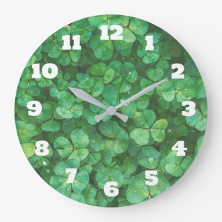 Green Clover Leaves Background Large Clock