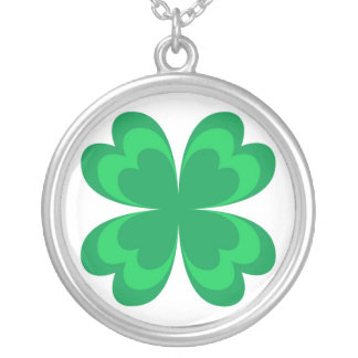 Green clover round pendant necklace