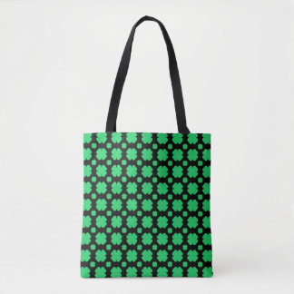 Green clover Patterned Black Tote Bag