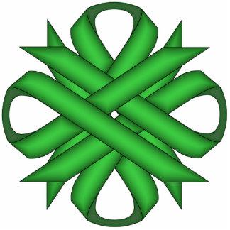 Green Clover Ribbon Photo Sculpture Key Ring