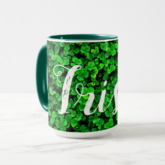 Green clover shamrocks irish ireland mug