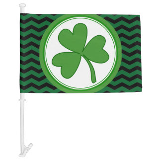 Green Clover St. Patrick's Day Car Flag