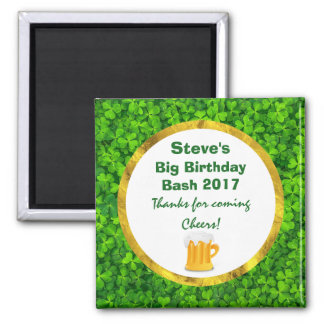 Green Clovers and Beer Mug Personalized Birthday Square Magnet