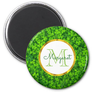 Green Clovers and Faux Gold Foil & Monogram 6 Cm Round Magnet