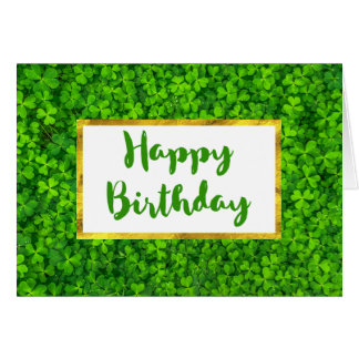 Green Clovers with FAUX Gold Foil Frame Birthday Card