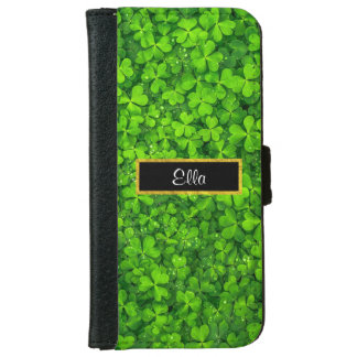 Green Clovers with FAUX Gold Foil Frame iPhone 6 Wallet Case