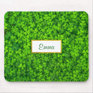 Green Clovers with FAUX Gold Foil Frame Mouse Pad