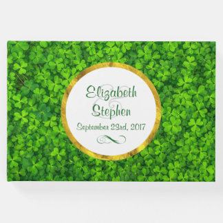Green Clovers with FAUX Gold Foil Frame Wedding Guest Book