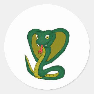 Green cobra round sticker