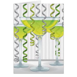 Green cocktail and ribbon card