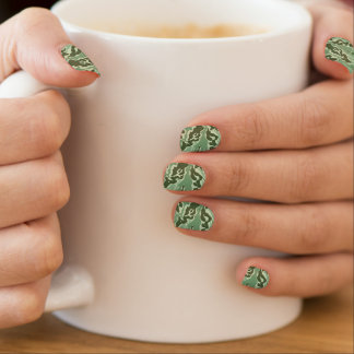 Green color camouflage pattern minx nail art