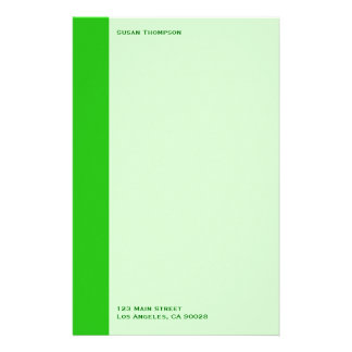 green color personalised stationery