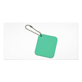Green colored tag with chain photo card