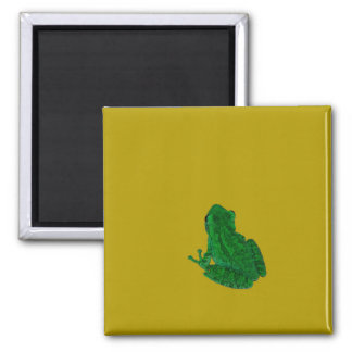 Green colorzed frog against yellow look up refrigerator magnet