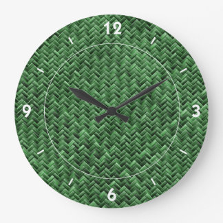 Green Coloured Basket weave Pattern Large Clock