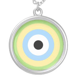 Green Combination Bullseye Silver Plated Necklace