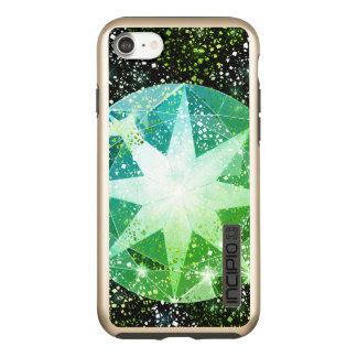 Green Compass Gemstone Rhinestone Gold Sparkle Incipio DualPro Shine iPhone 8/7 Case