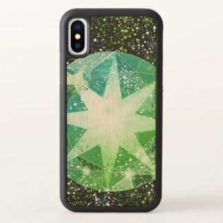 Green Compass Gemstone Rhinestone Gold Sparkle iPhone X Case