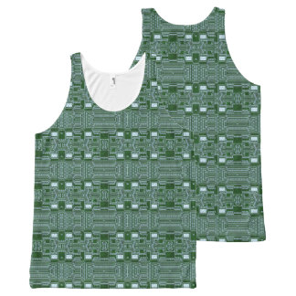 Green Computer Circuit Board Print Tank Top