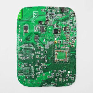 Green Computer Geek Circuit Board Baby Burp Cloths