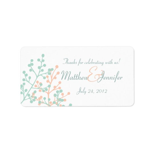 Green & Coral Custom Wedding Favour Label Stickers