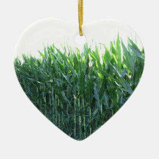 Green corn field on summer day ceramic heart decoration