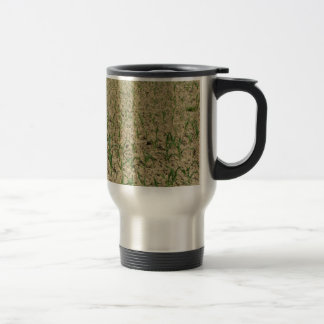Green corn maize field in early stage travel mug
