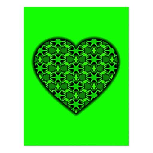 Green Cosmic Burst Heart Postcards