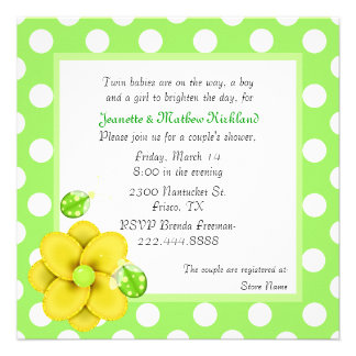 Green Couple s Twins Baby Shower Invitation