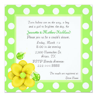 Green Couple's Twins Baby Shower Invitation