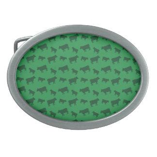 Green cow pattern oval belt buckle