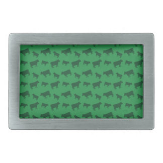 Green cow pattern rectangular belt buckle