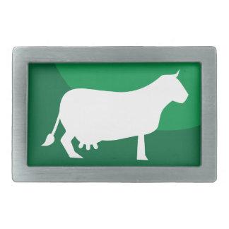 Green Cow Round Icon Belt Buckle