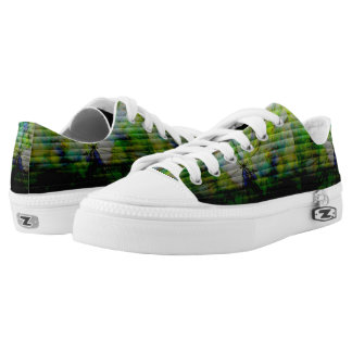 Green Cracked Low Tops