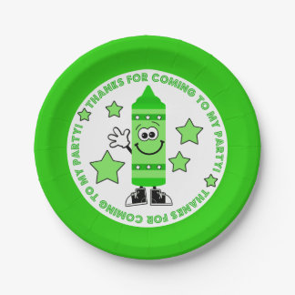 Green Crayon Birthday Party Paper Plate