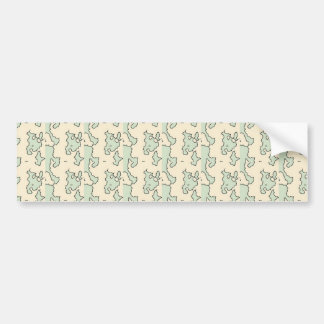 Green Cream Abstract Shapes Pattern Bumper Stickers