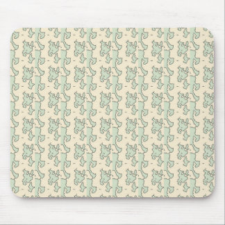 Green Cream Abstract Shapes Pattern Mouse Pad