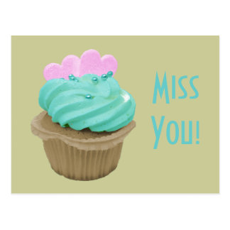 Green Cream Cupcake and Pink Hearts Postcard