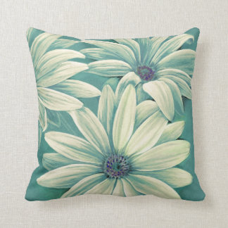 Green cream daisy osteospermum throw pillow cushion