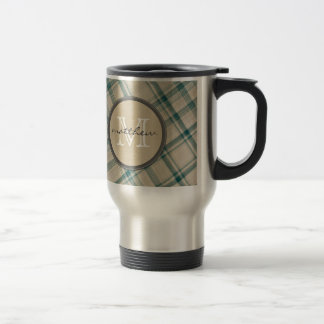Green Cream Plaid background Monogram Coffee Mugs