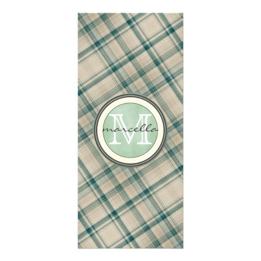 Green Cream Plaid Monogram Personalized Rack Card