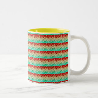 Green Cream Red Artistic Square Pattern Coffee Mugs