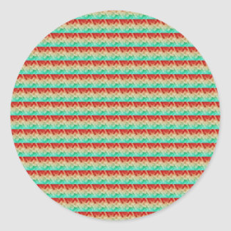 Green Cream Red Artistic Square Pattern Round Sticker