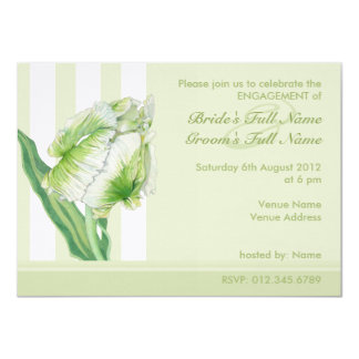 Green Cream Tulip Engagement Invitation