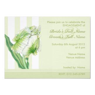 Green Cream Tulip Engagement Invitation
