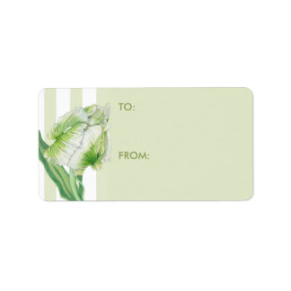 Green Cream Tulip Gift Tag Address Label